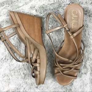 EUC Cole Haan Strappy Sandal Nike Air Wedge 10